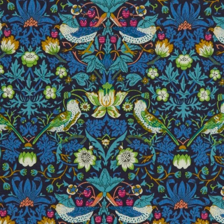 Liberty Tana Lawn Cotton Fabric Strawberry Thief Violet 136cm