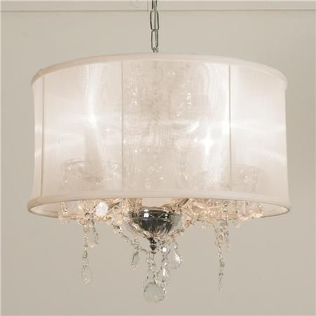 Modern Glam Shaded Crystal Chandelier 5 Light Drum