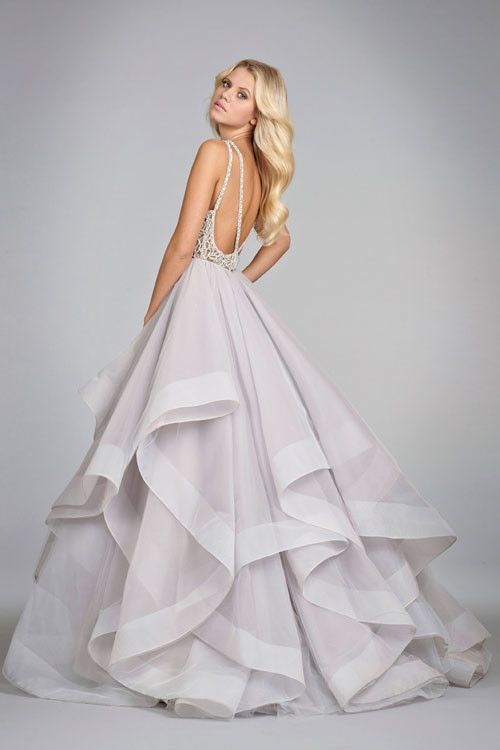 Hayley Paige 6413 Alabaster tulle bridal gown with halter high neck alabaster and crystal bodice, full horse hair flounced skirt and chapel train.