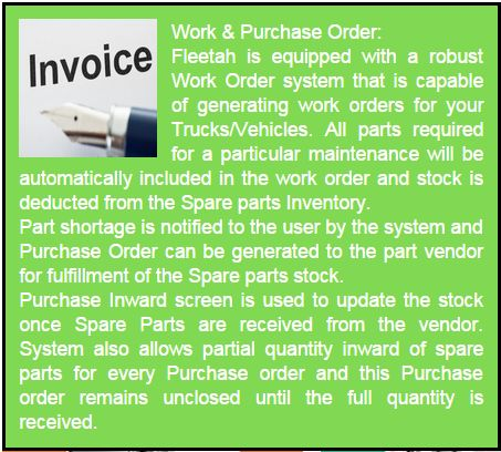 Work Order & Purchase Order - Fleetah is capable of generating Work orders for your Trucks/Vehicles
