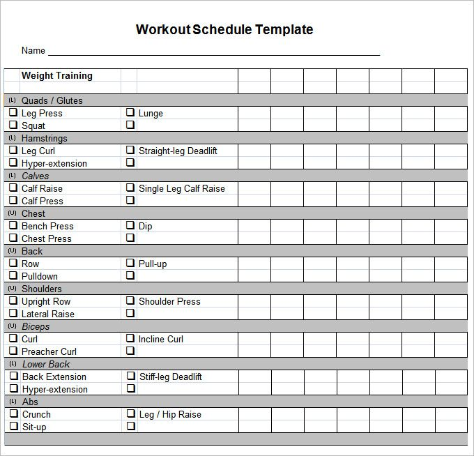 Workout Schedule Template   Free Word Excel Pdf Format