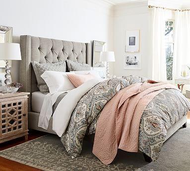 Harper Upholstered Tufted Tall Bed & Headboard #potterybarn I love this room so much! @shhimpinnin
