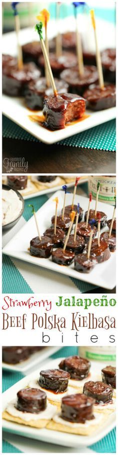 These Strawberry Jalapeño Beef Polska Kielbasa Bites are a tasty appetizer that is perfect for parties! It's sweet and savory and has a little bit of a kick. via @favfamilyrecipz