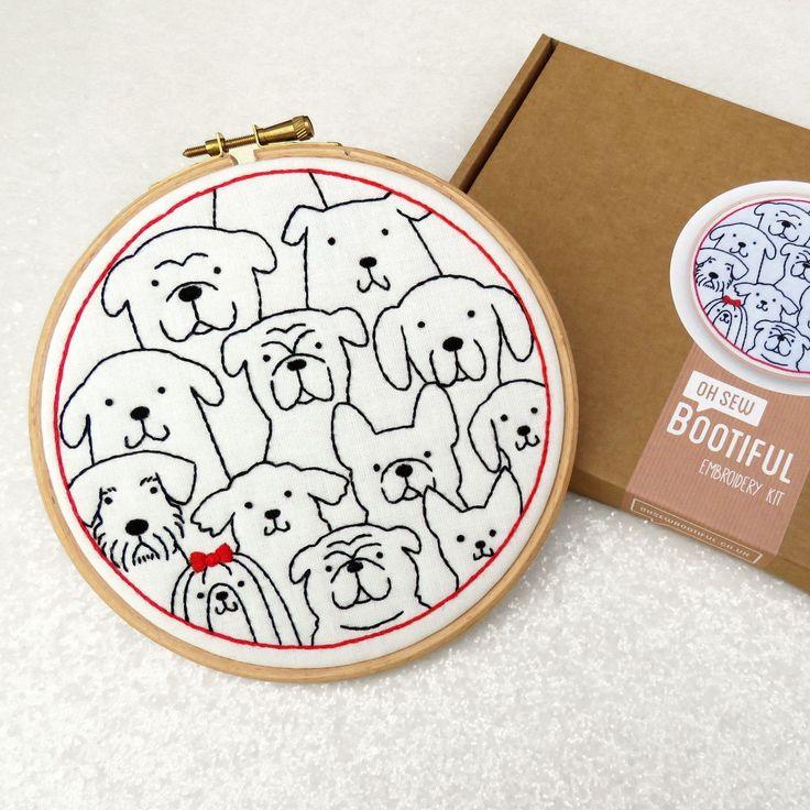 Kit de broderie pour chiens, broderie pour débutants, cadeau d'amoureux de chien, Art du cerceau de chien, cadeau d'amoureux des animaux, Kit de broderie pour chien, ensemble de broderie facile