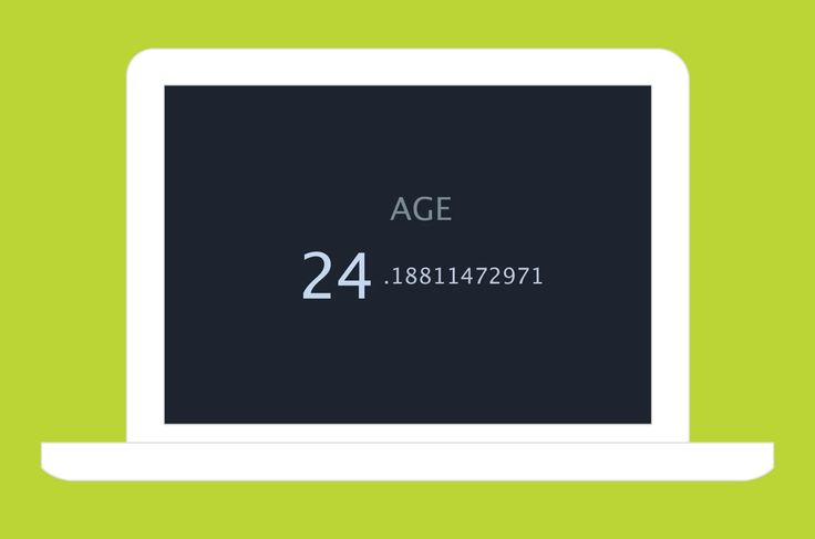 This homepage displays a clock that constantly ticks away your age.