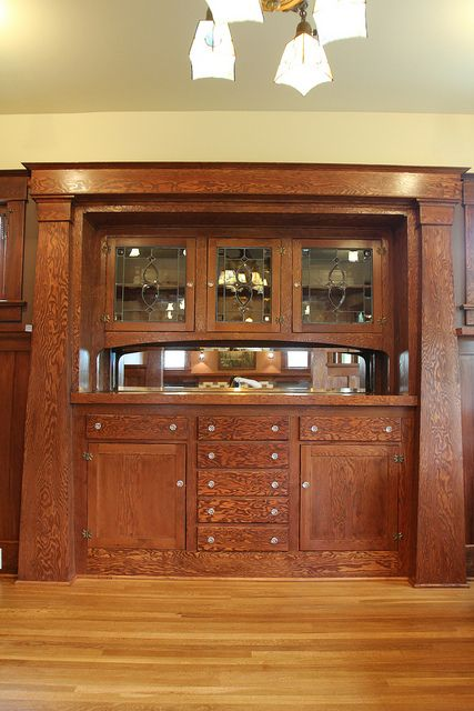 Dining Room Built In China Cabinet Craftsman Restoration Portland Oregon