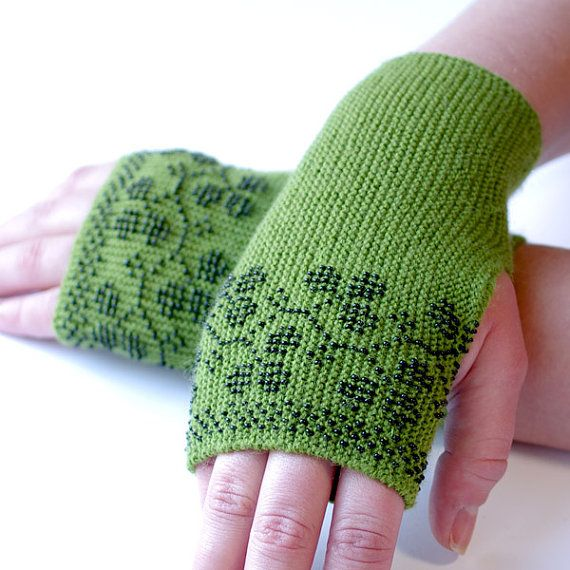 Warm slim green beaded fingerless gloves/wrist warmers by evarica, $49.00 I really must try knitting with beads!