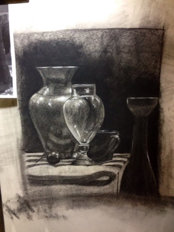 Study in reflections & transparencies, charcoal, gifted to my patron saint 2013 christmas t. johnsen