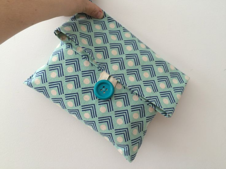 Handmade organic cotton canvas travel bag with blue button. Toiletry bag. Reusable bag. Modern blue  canvas bag. by scraphilldesigns on Etsy