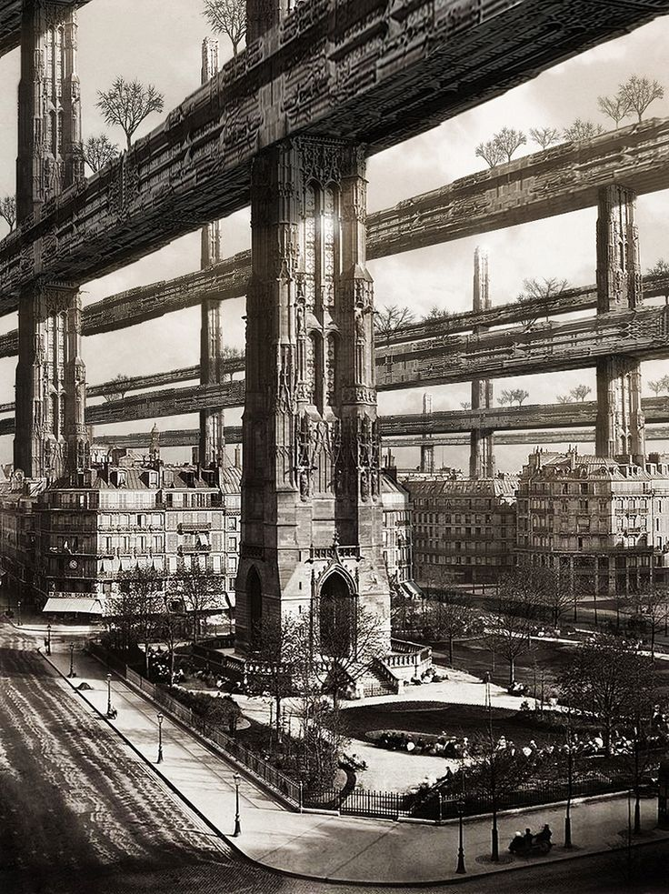first image  'architects pay a visit to random places' by francisco villeda  hugh ferriss pays a visit to paris, 2012 8 x 12 cm print