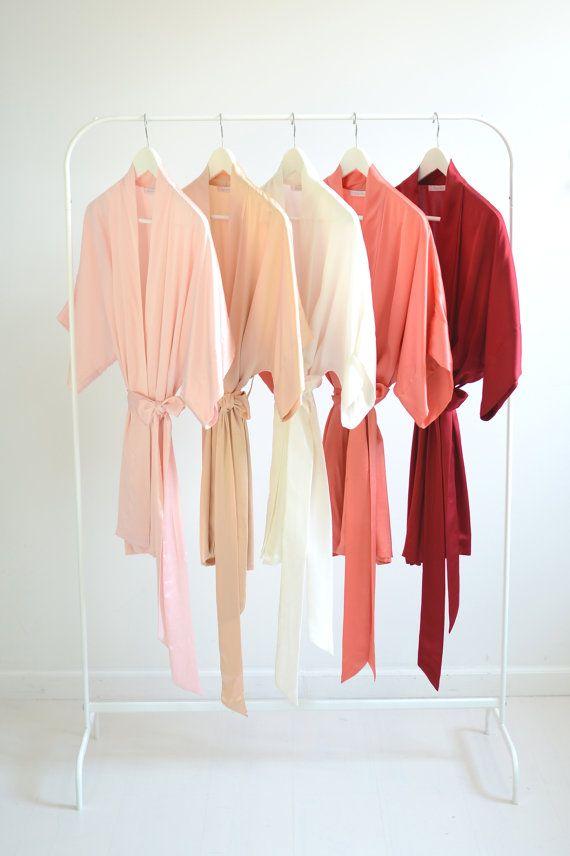Samantha Silk Kimono Bridal Robe Bridesmaids Robes in Strawberries & Cream Colors - pink, peach, ivo