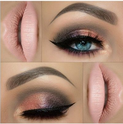 peach and black smokey eye make up , peach lips , nude lips , cocktail function makeup