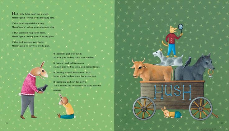 Hush Little Baby, illustration for Over the Hills and Far Away: A Treasury of Nursery Rhymes from Around the World. Illustration by Don Cadoret. © 2014