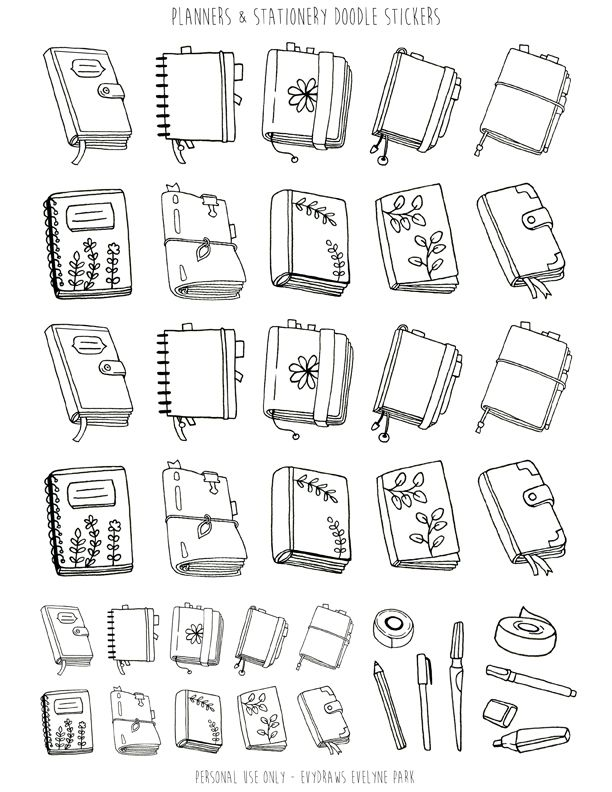 Planners Stationery Doodle Stickers Printable Handdrawn Bullet Journals Midori Filofax Pens Washi Tape Coloring Sticker Printables Bullet Journal Doodles Journal Doodles Planner Doodles