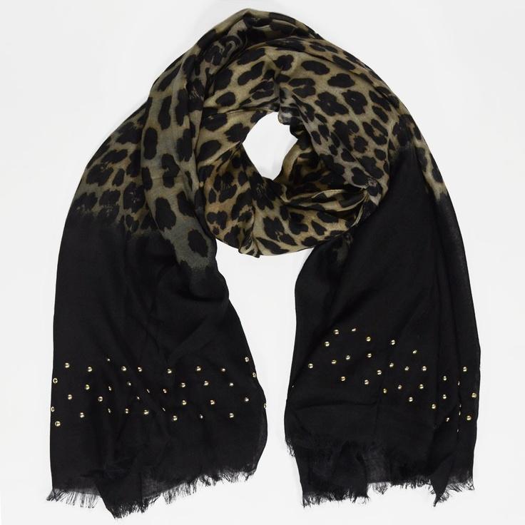 écharpe léopard cloutée doré