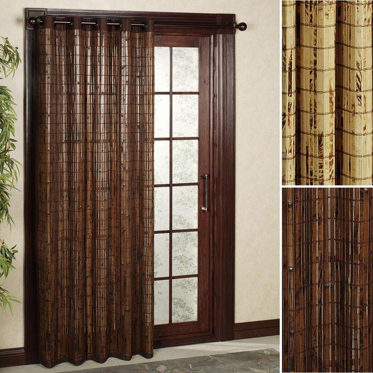 Unique Brown Wooden Patio Door Curtain Decor
