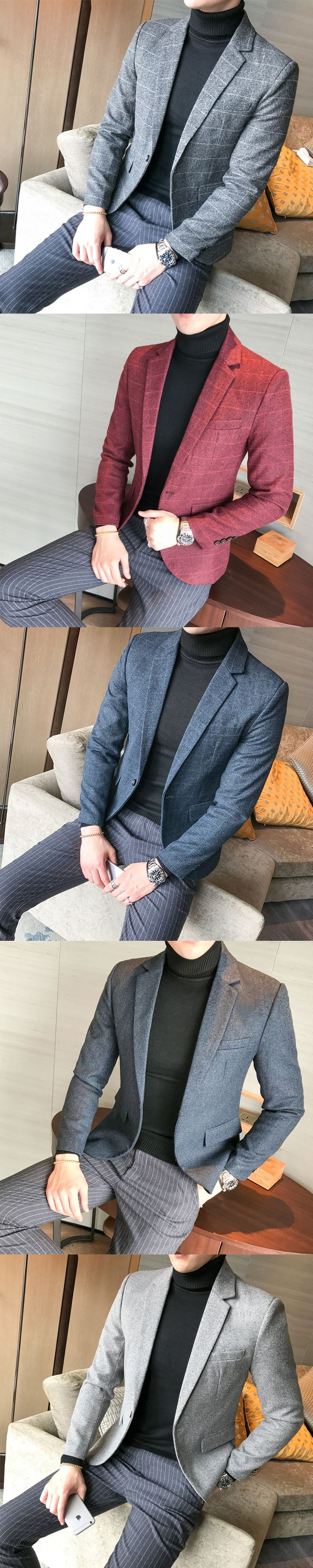 British Men Blazer Autumn New Plus Size Plaid Wedding Dress Suit Men Fashion Slim Fit Long Sleeved Business Casual Blazers Mens