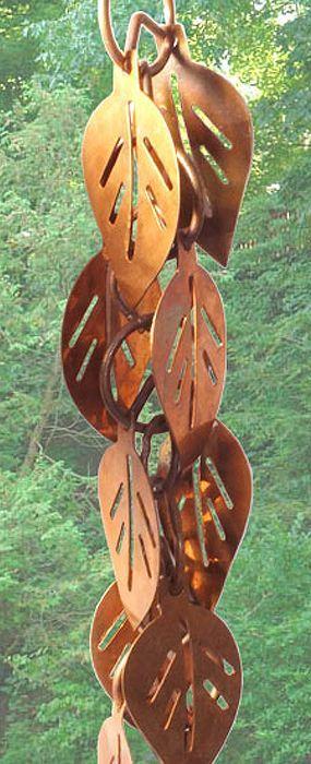 Cascading Leaves Rain Gutter Chain, Copper Rain Chain Downspout for Sale