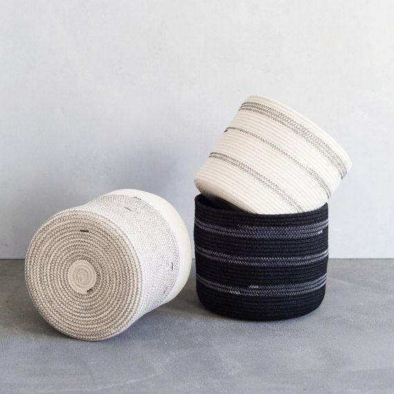 Cylinder Shaped Coiled Rope Basket / Bathroom by MiaMelange