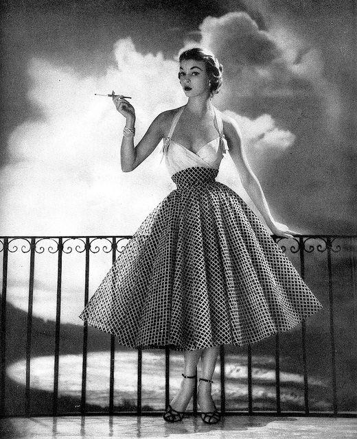 ~Jean Patchett in a gorgeous party dress by Larry Aldrich - Harper's Bazaar, May 1952~