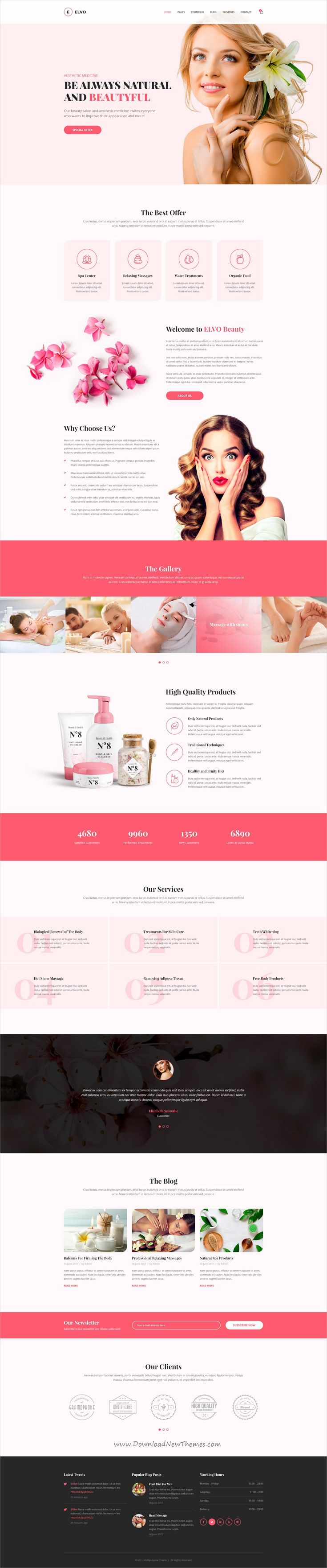 Elvo is clean and modern design multipurpose PSD template for #spa and #wellness centers website with 20+ niche homepage layouts and 66 layered PSD pages download now..