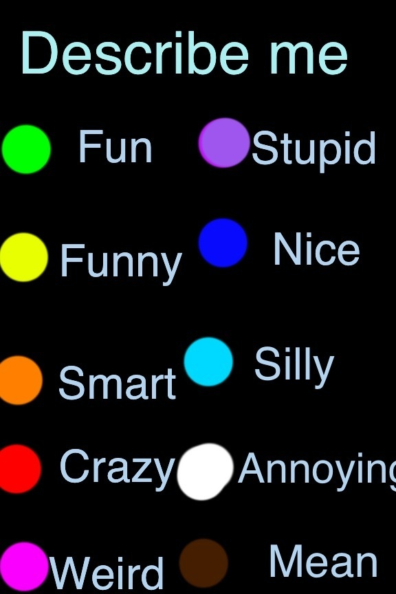 I am fun, stupid, funny, nice (ok maybe not that), silly, crazy (definitely), annoying, and especially WEIRD!