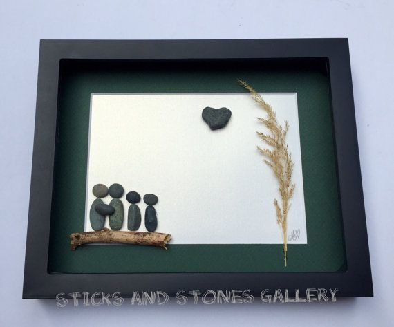 Pebble Art Family Picture Custom Family Gift by SticksnStone
