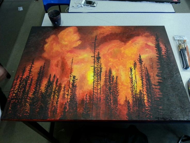 Forest Fire Acrylic Painting Canvas Piece Art In 2019