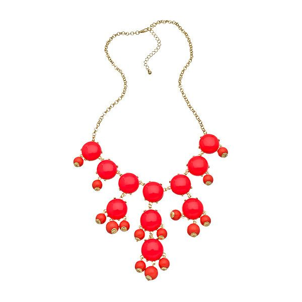 Gold and Coral Mini Bubble Necklace (400 MXN) ❤ liked on Polyvore featuring jewelry, necklaces, accessories, collares, red, fashion jewelrynecklaces, red bubble necklace, red bib necklace, bubble necklace and coral bib necklace