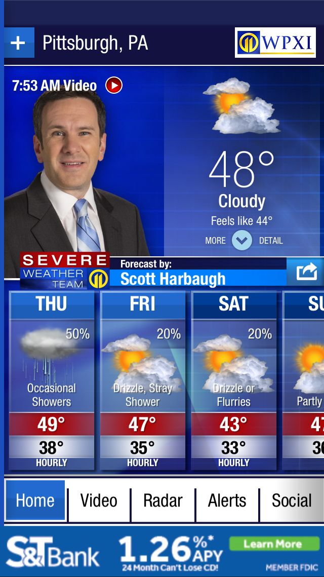 Forecast for Pittsburgh, PA from the @WPXI Severe Weather Team 11 app. Download at http://wpxiweatherapp.com.