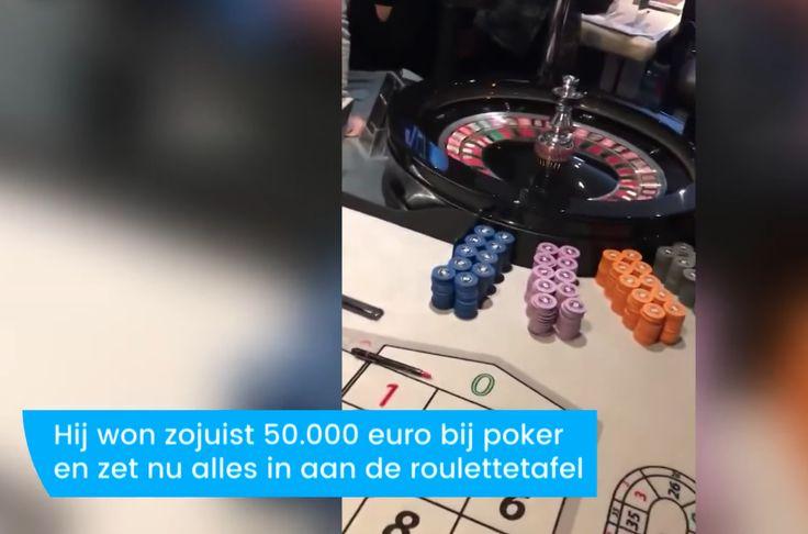 Hij heeft net 48.000 euro gewonnen met pokeren, en zet alles in op zwart bij de roulette tafel? WoW