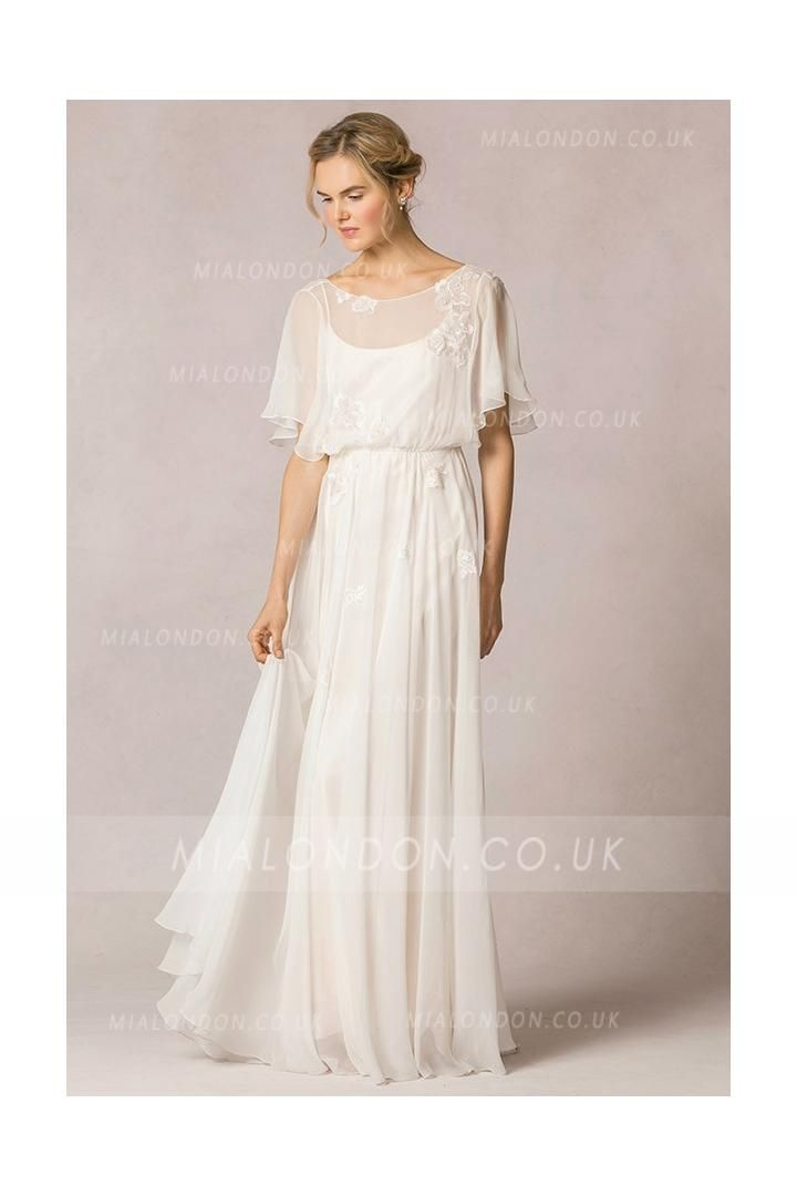 2f980b27258b Casual Flutter Sleeved Lace Decorated Silk Chiffon Vintage Wedding Dress