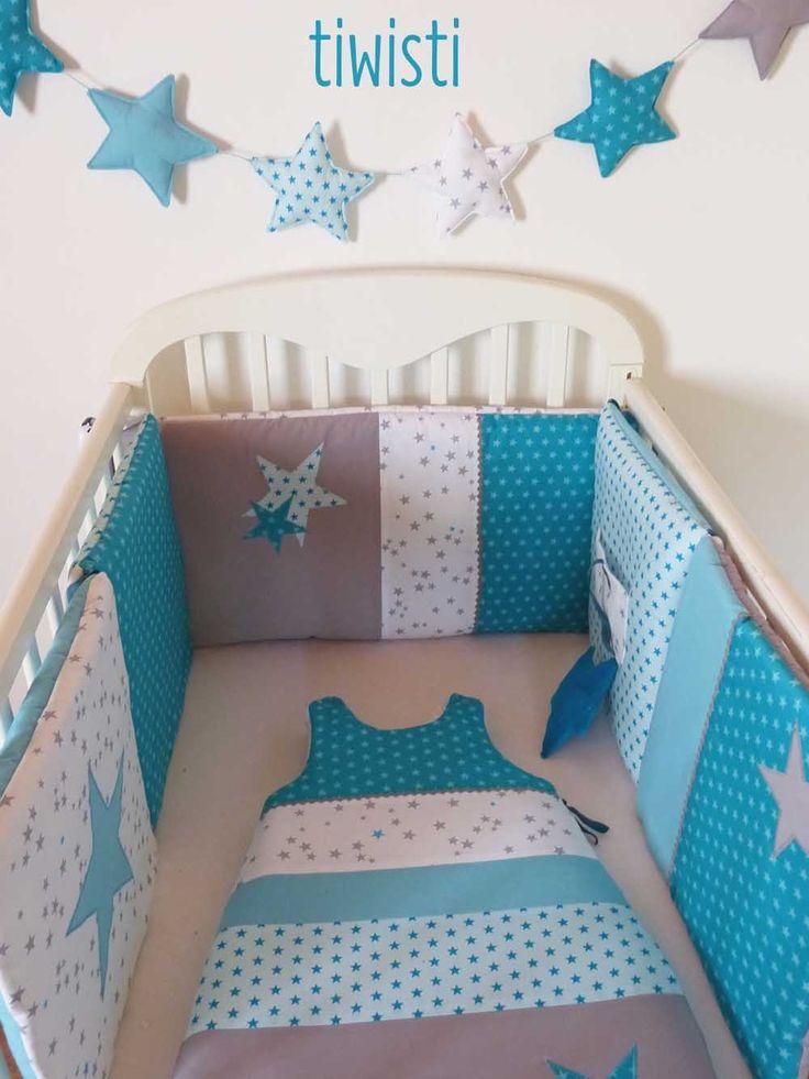 Tour de lit coussin modulable et gigoteuse 0-6 mois, grise, turquoise , menthe glacial, étoile : Linge de lit enfants par tiwisti
