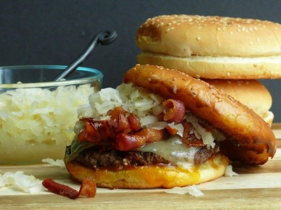 Double Kraut-Double Cheese Burgers
