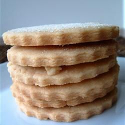 Almond Shortbread cookies. Ingredients: butter, white sugar, almond extract, AP flour, granulated sugar for decoration