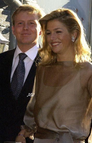 Crown Prince Willem-Alexander of the Netherlands and his fiancée ms Maxima Zorreguieta arrive for the private party at restaurant Bølgen&Moi, Trondheim on may 22; wedding of Princess Märtha Louise of Norway and mr. Ari Behn, May 24th 2002