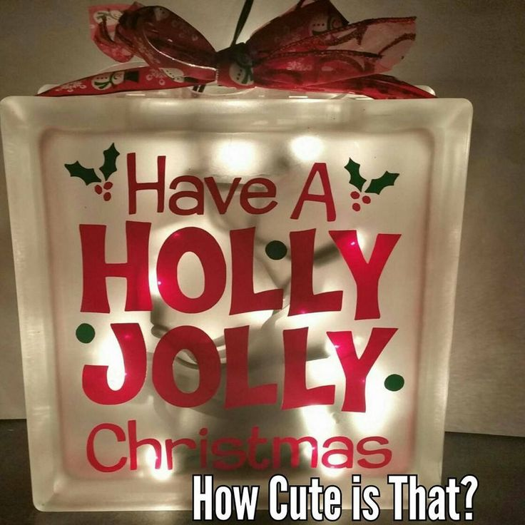 Glass block light holly jolly christmas