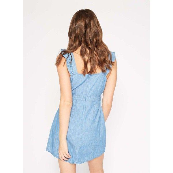 Miss Selfridge PETITE Denim Pinafore Dress ($68) ❤ liked on Polyvore featuring dresses, blue, petite, frilly dresses, denim pinafore dress, white blue dress, petite denim dress and white dress