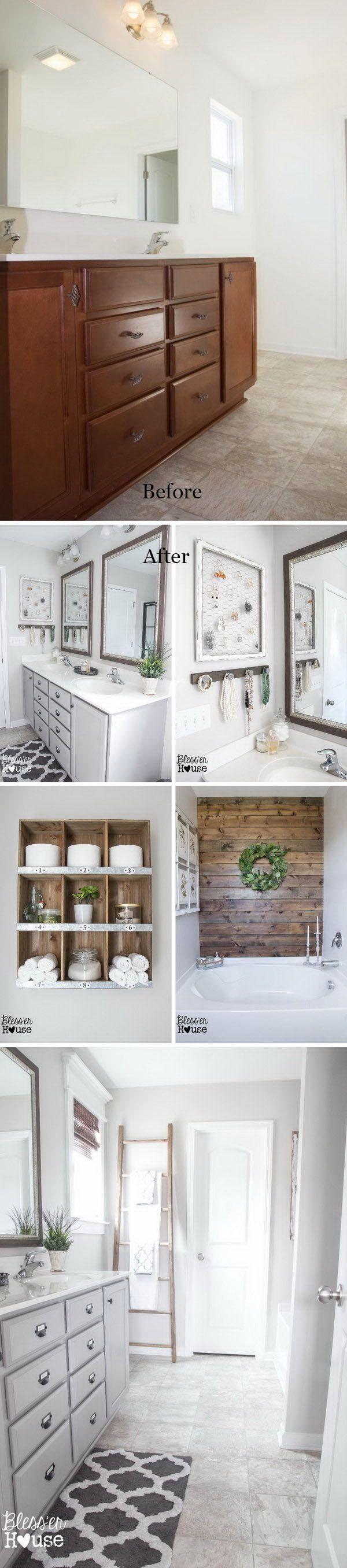 Master Bathroom Budget Makeover: Builder Grade to Rustic Industrial.