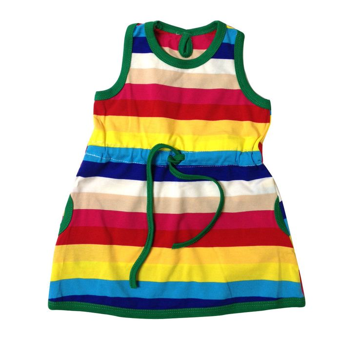 We love rainbows! Striped girls summer dress