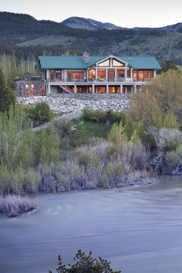 Modern ranch situated along the Sun River, just below the Gibson Reservoir Dam in Montana