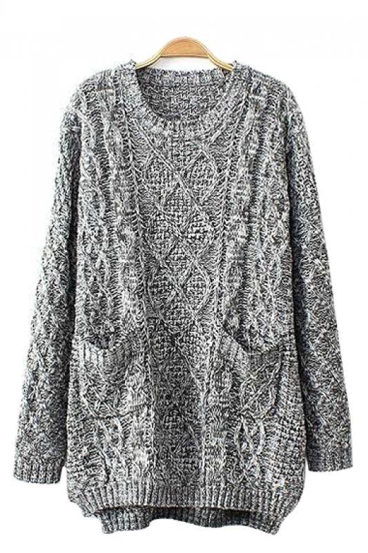 Grey Two-Pocket Long Sleeves Loose Sweater. It had me at pockets.