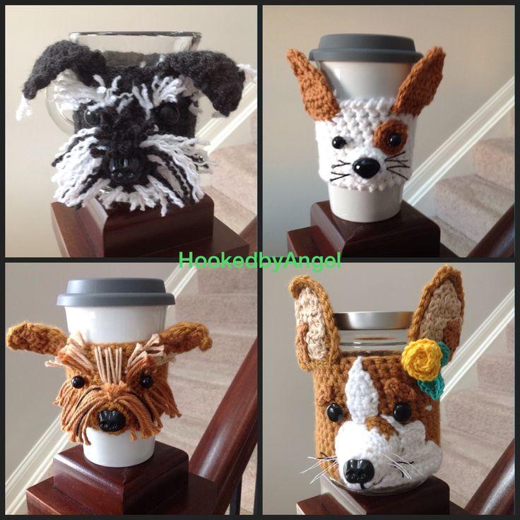 Crochet cozies designed to resemble different dog breeds.  #hookedbyangel