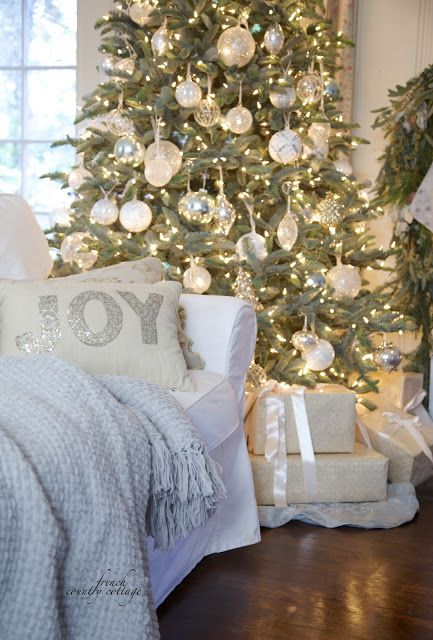 French Country Cottage Christmas Tree white & clear glass & french blue