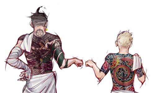 gundam and fuyuhiko being buddies, as requested by fuyuhikoyakuzakuzuryuu