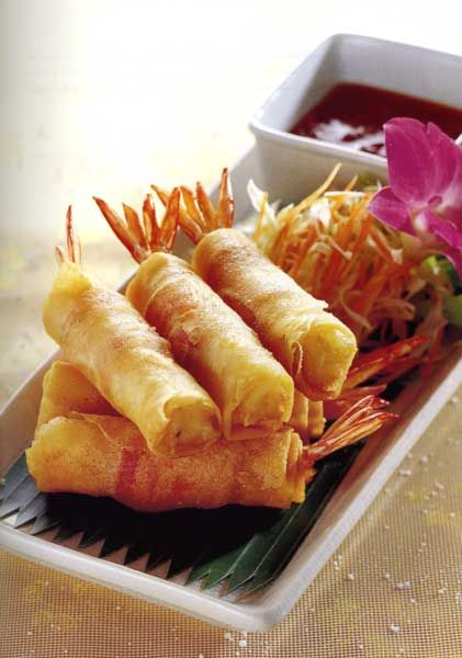 Goong Hom Pha or Prawns/Shrimp in Blankets (use filo pastry if no egg roll wrappers available!)