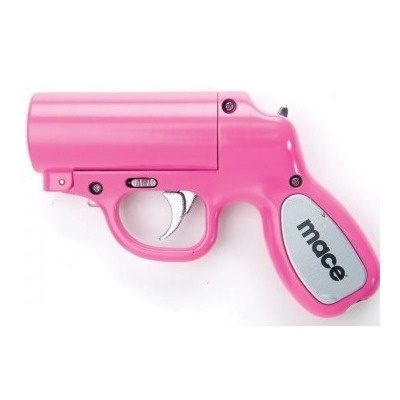 This pink mace gun is a fully-loaded self-defense tool holding a canister of pepper spray. Bright and girly as it may be, it's no match for predators—emitting a powerful stream of OC formula up to 20 ft in length. The trigger also activates an LED light that'll ensure you hit your target. $42  Features:  - 28 gram cartridge contains up to 7 blasts  - Effective range up to 20 feet  - Trigger activated LED light (batteries included)  - Water practice cartridge loaded in gun