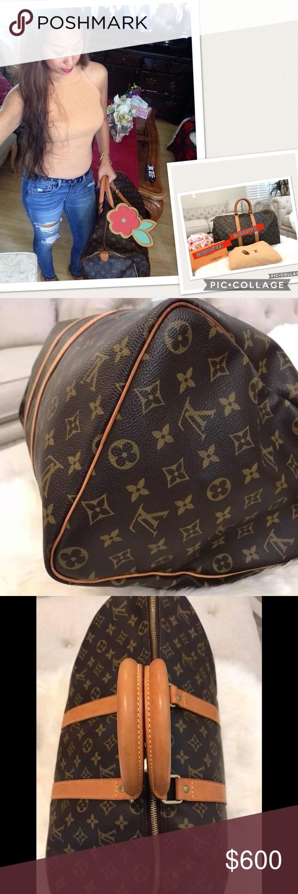 Preloved authentic Louis Vuitton keepall 45 Preloved authentic Louis Vuitton Keepall Monogram 45 it comes with lv dust bag and lv padlock 🔐. Excellent condition with a normal sign of used. MADE in 🇫🇷 France Louis Vuitton Bags Travel Bags