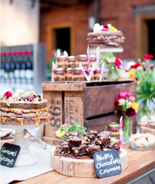 Yummo! Delish-looking naked caramel cake and brownies at Mornington Peninsula wedding venue Red Hill Epicurean. Click for info!