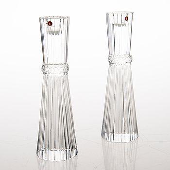 "Tapio Wirkkala - Art glass candleholders ""Pallas"" (h. 18,5 cm) for Iittala, Finland."